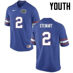 Youth Florida Gators #2 Brad Stewart College Football Blue 158735-128