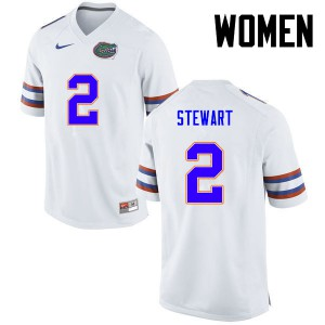 Women Florida Gators #2 Brad Stewart College Football White 351935-307