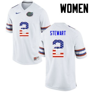 Women Florida Gators #2 Brad Stewart College Football USA Flag Fashion White 388085-393