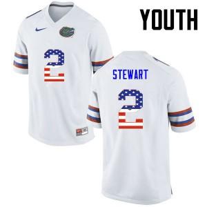 Youth Florida Gators #2 Brad Stewart College Football USA Flag Fashion White 451949-598