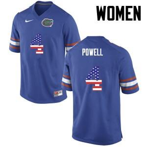 Women Florida Gators #4 Brandon Powell College Football USA Flag Fashion Blue 743629-991