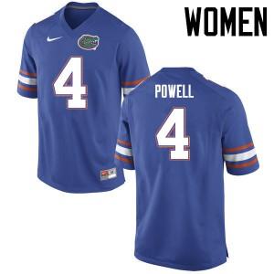 Women Florida Gators #4 Brandon Powell College Football Jerseys Blue 500081-800