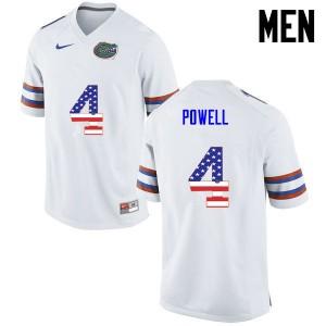 Men Florida Gators #4 Brandon Powell College Football USA Flag Fashion White 938878-495