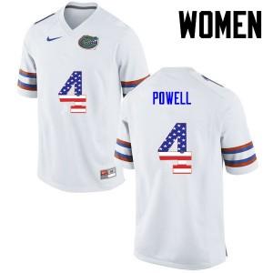 Women Florida Gators #4 Brandon Powell College Football USA Flag Fashion White 627929-692