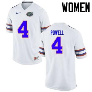 Women Florida Gators #4 Brandon Powell College Football Jerseys White 726799-235
