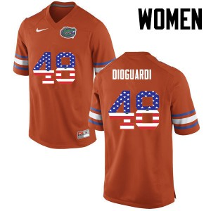 Women Florida Gators #48 Brett DioGuardi College Football USA Flag Fashion Orange 281722-822