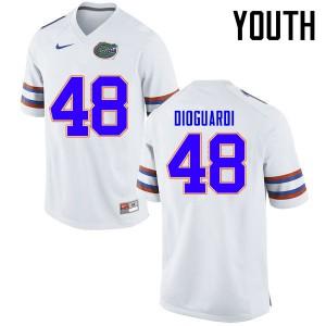 Youth Florida Gators #48 Brett DioGuardi College Football Jerseys White 632407-837