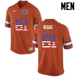 Men Florida Gators #61 Brett Heggie College Football USA Flag Fashion Orange 263320-717