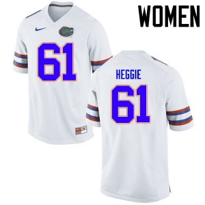 Women Florida Gators #61 Brett Heggie College Football Jerseys White 985663-524