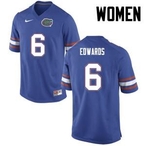 Women Florida Gators #6 Brian Edwards College Football Blue 670650-822