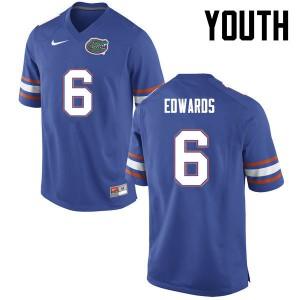 Youth Florida Gators #6 Brian Edwards College Football Blue 122387-928