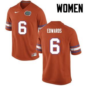 Women Florida Gators #6 Brian Edwards College Football Orange 587687-622