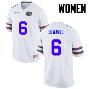 Women Florida Gators #6 Brian Edwards College Football White 997286-401