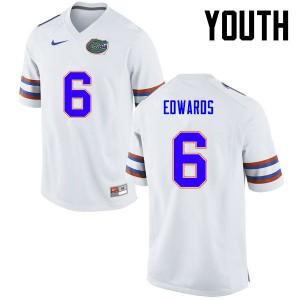 Youth Florida Gators #6 Brian Edwards College Football White 986418-464