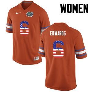 Women Florida Gators #6 Brian Edwards College Football USA Flag Fashion Orange 820873-750