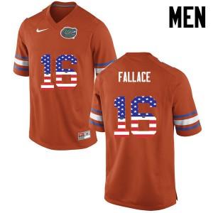 Men Florida Gators #16 Brian Fallace College Football USA Flag Fashion Orange 699817-925