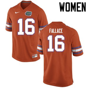 Women Florida Gators #16 Brian Fallace College Football Jerseys Orange 575992-593