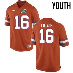 Youth Florida Gators #16 Brian Fallace College Football Jerseys Orange 533437-499