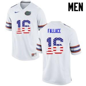 Men Florida Gators #16 Brian Fallace College Football USA Flag Fashion White 356233-322