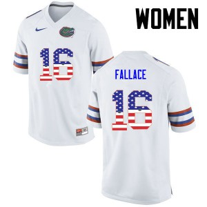 Women Florida Gators #16 Brian Fallace College Football USA Flag Fashion White 823752-923