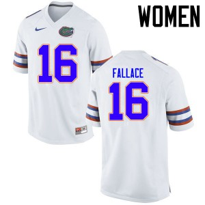 Women Florida Gators #16 Brian Fallace College Football Jerseys White 437905-130