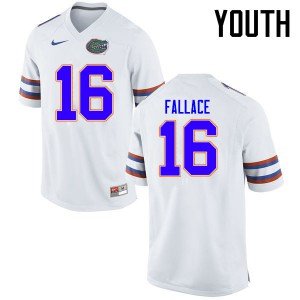 Youth Florida Gators #16 Brian Fallace College Football Jerseys White 360634-590