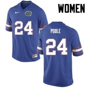 Women Florida Gators #24 Brian Poole College Football Blue 897613-888