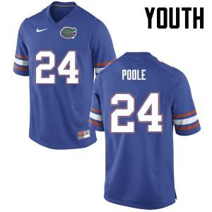 Youth Florida Gators #24 Brian Poole College Football Blue 402285-422