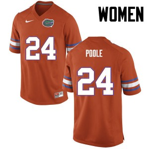 Women Florida Gators #24 Brian Poole College Football Orange 695673-314
