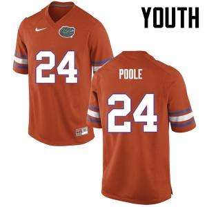 Youth Florida Gators #24 Brian Poole College Football Orange 189956-759
