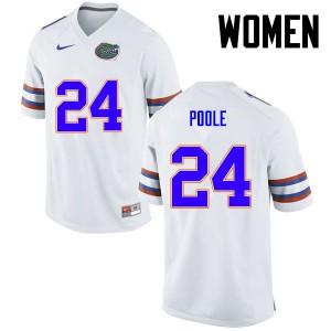 Women Florida Gators #24 Brian Poole College Football White 371550-861
