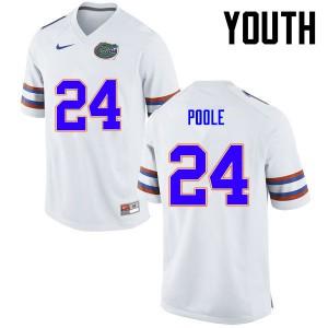 Youth Florida Gators #24 Brian Poole College Football White 436633-821