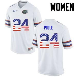 Women Florida Gators #24 Brian Poole College Football USA Flag Fashion White 780501-611