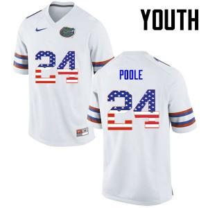 Youth Florida Gators #24 Brian Poole College Football USA Flag Fashion White 638430-866