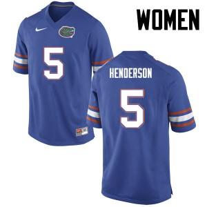 Women Florida Gators #5 CJ Henderson College Football Blue 133288-926
