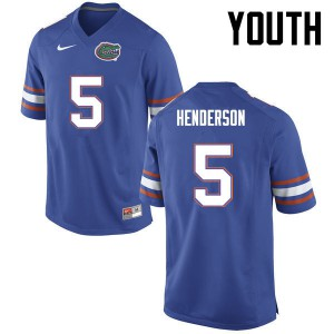 Youth Florida Gators #5 CJ Henderson College Football Blue 117099-219