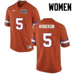 Women Florida Gators #5 CJ Henderson College Football Orange 782853-382