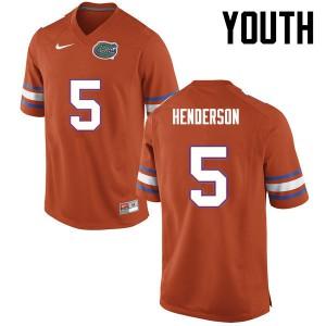 Youth Florida Gators #5 CJ Henderson College Football Orange 614441-915