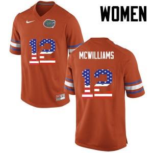 Women Florida Gators #12 C.J. McWilliams College Football USA Flag Fashion Orange 943779-828