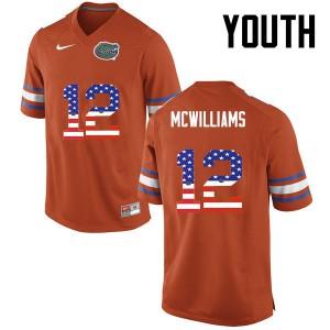 Youth Florida Gators #12 C.J. McWilliams College Football USA Flag Fashion Orange 225352-854