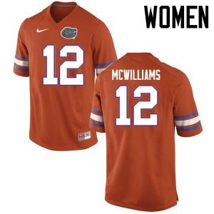 Women Florida Gators #12 C.J. McWilliams College Football Jerseys Orange 839869-298