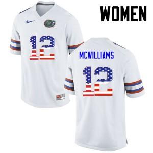 Women Florida Gators #12 C.J. McWilliams College Football USA Flag Fashion White 457988-852
