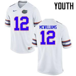 Youth Florida Gators #12 C.J. McWilliams College Football Jerseys White 667454-270