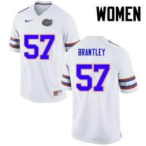 Women Florida Gators #57 Caleb Brantley College Football White 631556-792