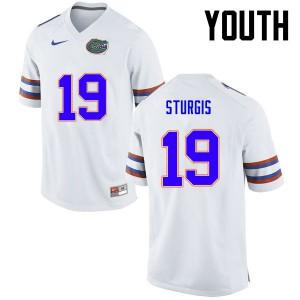 Youth Florida Gators #19 Caleb Sturgis College Football White 609083-694