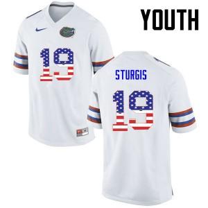 Youth Florida Gators #19 Caleb Sturgis College Football USA Flag Fashion White 559203-277