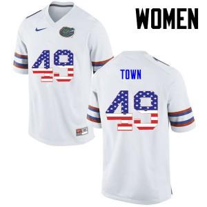 Women Florida Gators #49 Cameron Town College Football USA Flag Fashion White 456267-266