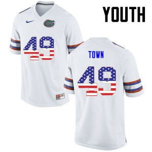 Youth Florida Gators #49 Cameron Town College Football USA Flag Fashion White 338762-381