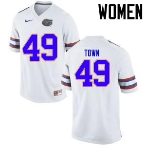 Women Florida Gators #49 Cameron Town College Football Jerseys White 974755-166