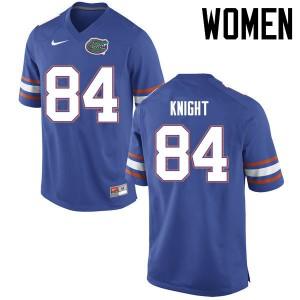 Women Florida Gators #84 Camrin Knight College Football Jerseys Blue 925061-508